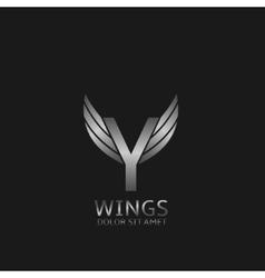 Wings Y letter logo vector image