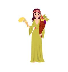 woman or demeter greek goddess stands holding vector image