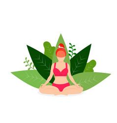woman practicing yoga outdoors padmasana pose vector image