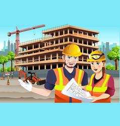 Working female construction worker vector
