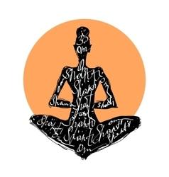 Yoga woman typography poster vector