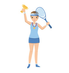 young tennis athlete winner holding a trophy on vector image
