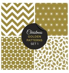 christmas golden patterns set 1 vector image vector image