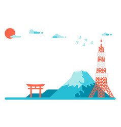 flat design japan landmarks background vector image