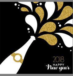 Happy new year 2018 gold glitter bottle splash vector