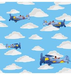 retro airplanes flying vector image vector image