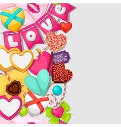 Seamless pattern with hearts objects decorations vector image vector image