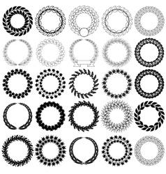 Set black laurel wreath on the white background vector image vector image
