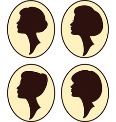 vintage womans silhouettes vector image vector image