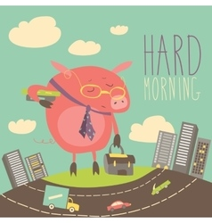 Funny sleepy pig going to work vector image
