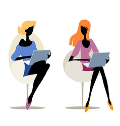 girls with laptops vector image vector image
