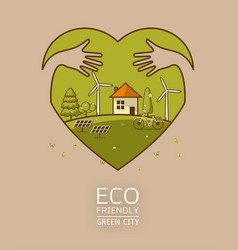 green earth in heart with hand hug concept vector image