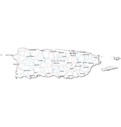 Puerto Rico Black White Map vector image vector image