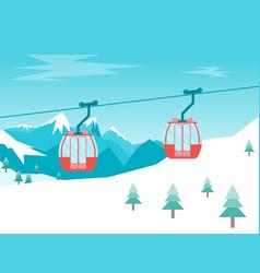 cartoon car cabins cableway in mountains vector image vector image
