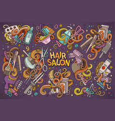 cartoon set of hair salon theme doodles vector image vector image