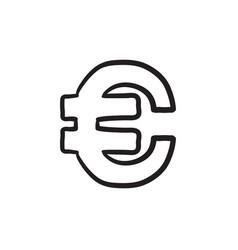 Euro symbol sketch icon vector