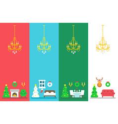 flat design christmas interior decor set vector image