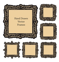 hand drawn art frames vector image