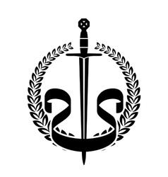 Laurel wreath with knight sword vector image vector image