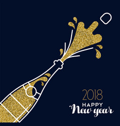 new year 2018 gold glitter champagne party bottle vector image vector image
