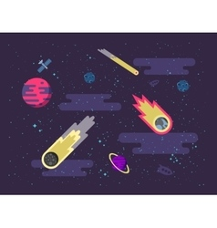 space background with comets vector image