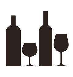 Bottles and glasses of alcohol vector image vector image