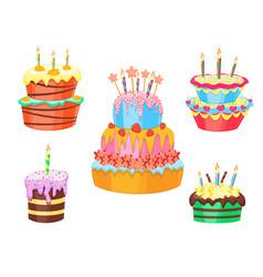 cartoon color cakes set vector image