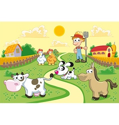 Farm Family with background vector image