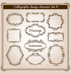 retro floral calligraphic wicker frames vector image vector image