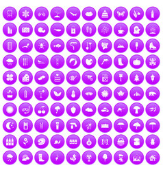 100 landscape icons set purple vector