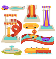 Aquapark water slides and amusement park vector