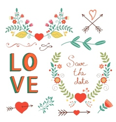 Beautiful love set vector