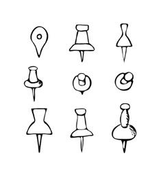 Black and white hand-drawn push pin vector image