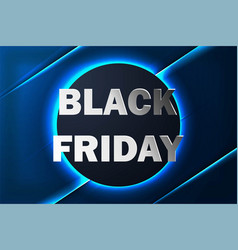 black friday sale banner with neon background vector image