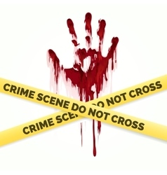 Bloody handprint and police crime scene vector image