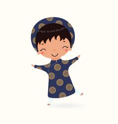 Boy in traditional vietnamese clothes vector