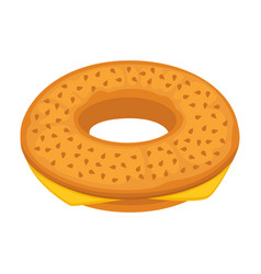Bread bun donut or cheese bagel icon for vector
