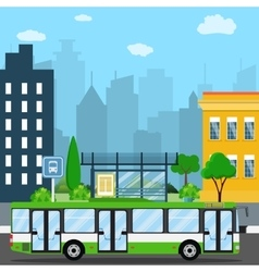 Bus stop with city background vector image