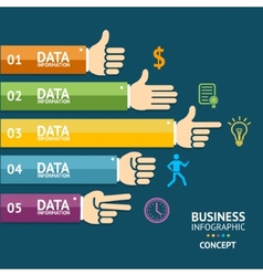 Business infographics with hands flat vector