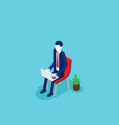 business man sitting and working concept vector image