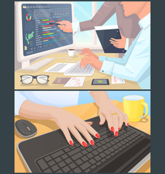 business work and reports on computer posters set vector image