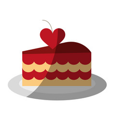 Cake heart flat shadow vector