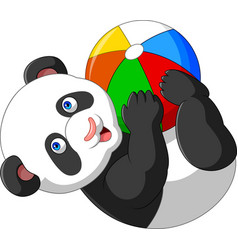 Cartoon baby panda playing with colorful ball vector