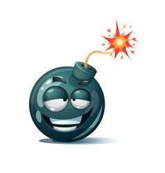 Cartoon bomb fuse wick spark icon satisfaction vector