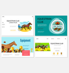 cartoon equestrian sport websites set vector image