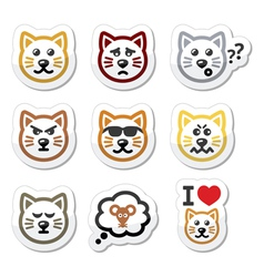 cat labels set - happy sad angry isolated on whi vector image