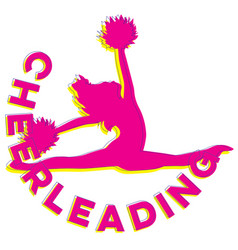 Cheerleading sign with dancer jumping vector
