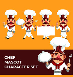 Chef mascot character set logo icon vector