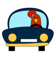chicken in a car on white background vector image