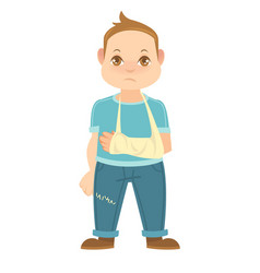 child with broken arm isolated on white boy vector image vector image